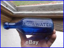 Iron Pontil Cobalt Blue 10 Sided W. P. Knickerbocker Soda Water 1848 New York Nice