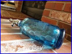 Isidor Gordon Seltzer Bottle, Blue Footed Thumbprint Soda Syphon Bkln Ny