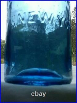 J. C PARKER & SON New York colbalt blue bottle
