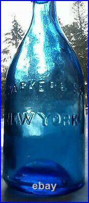 J. C. Parker & Son New York / Pontiled Cobalt Blue Soda