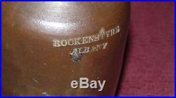 James Rockenstyre Albany New York Spruce Beer Stoneware Jug 1834-1850 Rare $$$