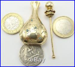 John Rubel&Co New York Vintage 14K Yellow Gold Turquoise and Ruby Perfume Bottle
