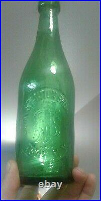 John Stanton brewing co. Troy N. Y. Blob top beer bottle Bright Green