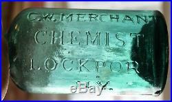 KILLER Colored Pontiled G. W. MERCHANT CHEMIST LOCKPORT NY Cylinder No Reserve