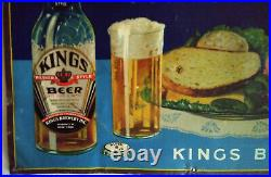 Kings Beer Tin Sign Brooklyn New York Brewery 1930s Irtp Bottle UPermit 12x17.5