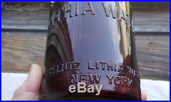 Korrylutz Lithia Water New York Amber Qt Blob Top Mineral Water Bottle Rare