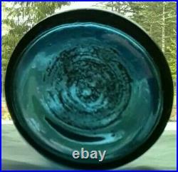 LANCASTER GLASS WORKS N. Y. Iron Pontiled-Cobalt-blue bottle