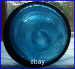 LANCASTER GLASS WORKS NEW YORK pontiled cobalt blue soda water