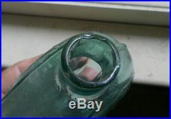 LANCASTER GLASS WORKS NY IRON PONTIL GIII-16 AQUA 1830s CORNUCOPIA FLASK SCARCE