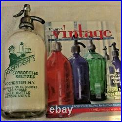 LARGE 1930s DOERNERS SELTZER BOTTLE ROCHESTER NEW YORK GREEN ACL ART DECO WAITER