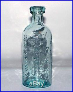 LEWIS & HOLT embossed Glass Wet Plate Collodion Bottle c1860 152 CHATHAM St NY