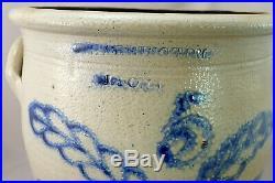 Large Lyons NY Stoneware Ovoid Crock ca, 1860