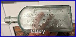 Large pontil medicine RADWAYS READY RELIEF ONE DOLLAR NEW YORK rare size