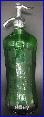 Laurel Club Beverages Bellhop Bklyn, N. Y. 12 Sided Faceted Green Seltzer Bottle