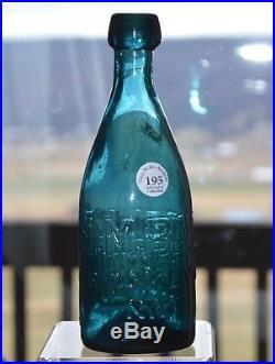 M. M. Battelle, Brooklyn, N. Y, Teal Blue, IP, 1840-60 Bottle