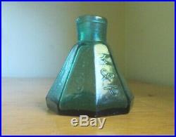 M&P NEW YORK BOLD EMB GREEN OPEN PONTIL 8 SIDED UMBRELLA INK BOTTLE 1850s NICE