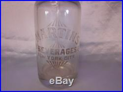 MARTIN'S Beverages New York City Antique Seltzer Bottle Czechoslovakia made