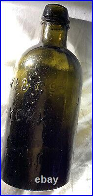 Mineral Water Bottle Clarke & Co, New York, 1 Pint