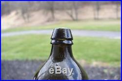 Mint 1820s Lynch & Clarke New York Mineral Water Bottle olive! Rare pontil