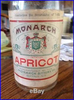 Monarch Bitter Pre Pro Buffalo New York Apricot Bottle 1910's Quart