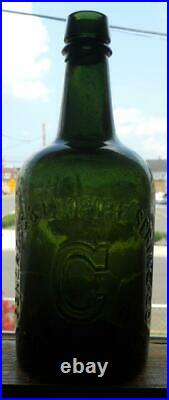Mossy True Green Quart Congress & Empire Saratoga NY Mineral Spring Water Bottle