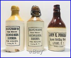 N. Y Stoneware Ginger Beer Bottles Lot Of (3) Lyons N. Y