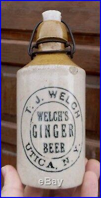 NICE 2 TONE STONEWARE WELCH'S GINGER BEER BOTTLE UTICA, NY WithSTOPPER 1890s