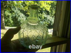 NORMAL SIZE HAYWARD HAND GRNADE FIRE EXTINGUISHER NY 1880s AQUA PLEATED BOTTLE