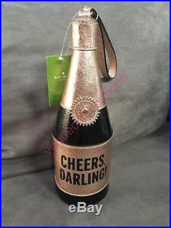 NWT Kate Spade NY Champagne Bottle Clutch Cheers Darling Rose Gold Wristlet Bag