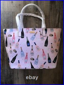 NWT Kate Spade New York Shore Street Champagne Bottles Margareta Pink Tote Bag