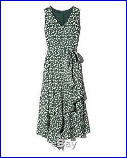 New Lafayette New York 148 14 Bottle Green Leaf Mini Laurel Teslon Dress $798