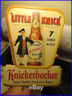 New York Knickerbocker Metal Beer Advertising Bar Sign Little Knick 7 Oz Bottle