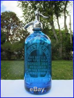 New York Seltzer Water Co. Detroit, Mich. Etched Glass Seltzer Prohibition Era