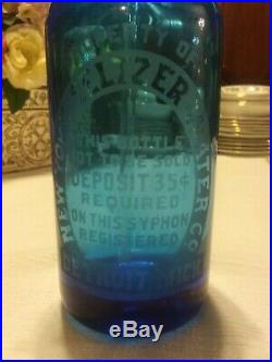 New York Seltzer Water Co. Original Blue Glass With Tap And Straw