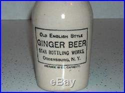 OGDENSBURG NEW YORK Stoneware Advertising Ginger Beer Bottle NY