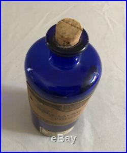 OLD Cobalt Cherry Laurel Water poison bottle Dodge Olcott NY Smith Kline French