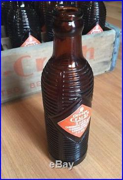 OLD VTG ORANGE CRUSH SODA BOTTLE CASE LOT 1940s UTICA NY CRATE 7 OZ. AMBER GLASS
