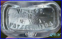 Old 1894 YONKERS N. Y. Pharmacy bottle withpic STATUE of LIBERTY blown glass BIM