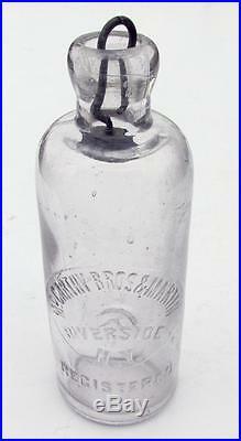 Old Antique Hutchinson Bottle McCARTHY BROS & MARTIN Riverside New York NY