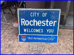 Old Original City Rochester Ny Advertising Sign New York Gas Oil Pump Can Bottle