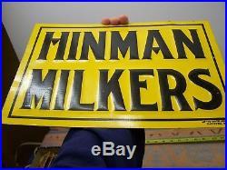 Old Original Rare Hinman Milker Tin Embossed Sign Bottle New York