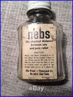 Old Vtg NEBS PAIN RELIEVER Medicine Medical Glass Bottle Drug Norwich NY Advert
