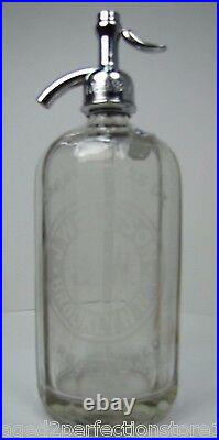 Old WOLFSON BROOKLYN NY Ribbed Glass Seltzer Bottle clear eteched advertising