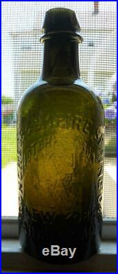 Olive Green Half Pint Hotchkiss' Sons Saratoga NY Mineral Spring Water Bottle