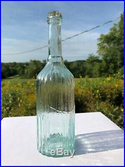 Open Pontil Ribbed Pepper Sauce Bottle M. & G. M. NY