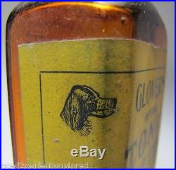 Orig 1920's Glover's Imperial Tonic Dog & Horse Medicene Amber Bottle w Label NY