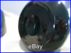 PAIR Emerald Green Glass Barber Bottles pontil blown 7.5 Lockport NY c1880s