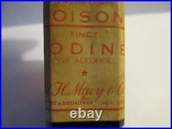 POISON Bottle TINCT IODINE Skull & Crossbones 3 1/4 R. H. Macy 34th St New York