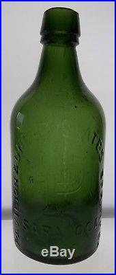 Pavilion & United States Spring Co. Bottle from Saratoga, NY in Olive Green