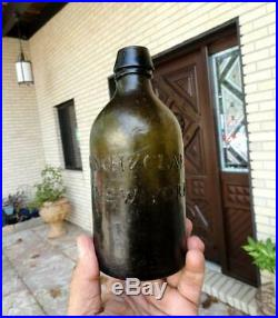 Pontil LYNCH & CLARKE OLIVE GREEN Mineral Water BOTTLE NEW YORK early 1800s